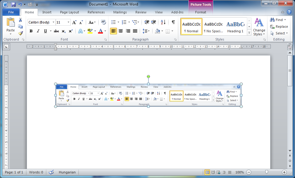 Office 2010 Word Picture Tools Ribbon