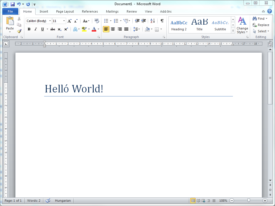 Word 2010: Hello World!